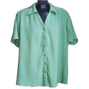 Traditions   Short Sleeve Button Up Green Blouse